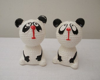 Vintage Panda Bear Salt and Pepper Shakers
