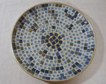 Vintage Blue & Gold Mosaic Plate Dish