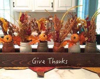 fall centerpiece, table centerpiece, planter box, Thanksgiving decor, box, mason jar decor, farmhouse decor, reclaimed wood, give thanks