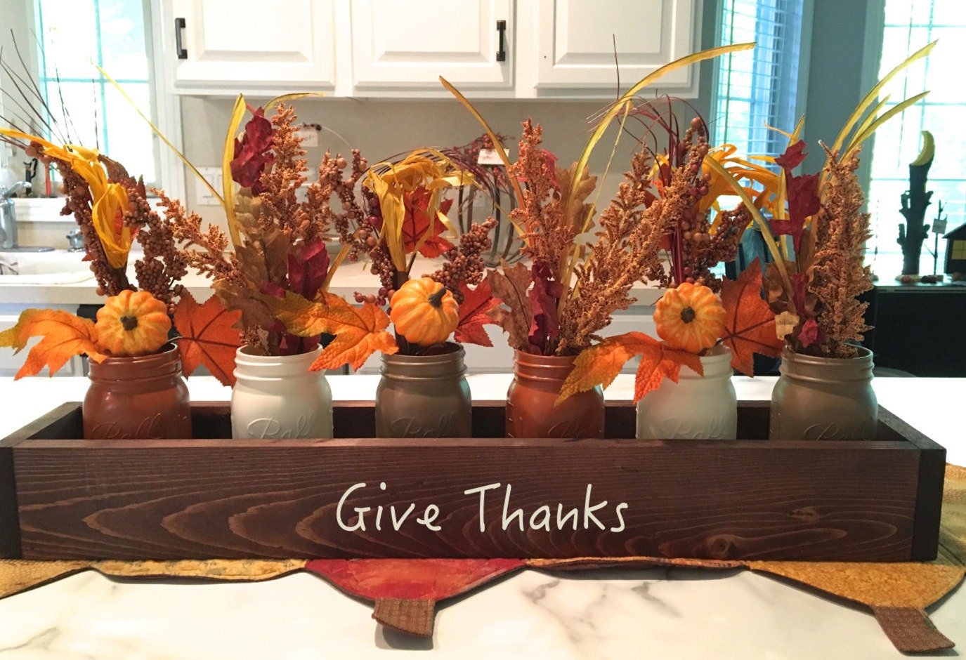 Fall centerpiece table planter box thanksgiving