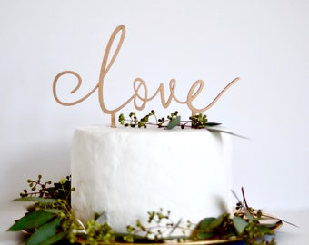 Love cake topper. wedding cake decoration. wedding sign. anniversary decoration. rose gold. Gold. silver. wood cake topper. bridal shower.