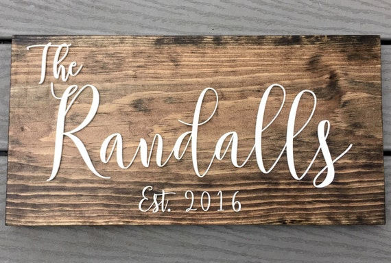 Last Name Sign Rustic Home Decor Wedding by FancyFaceStudio
