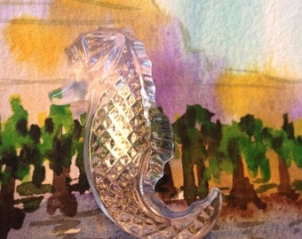 Waterford Crystal Sea Horse Brooch