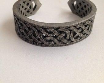 Celtic Knot Cuff Bracelet Chunky Pewter