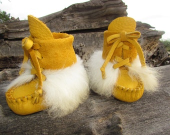 "Baby Mukluks By Desi, Buffalo Leather, 4"" Long, Sheepskin Fur Boots, Girl, Boy, Winter Wear, Tribal, Aztec, Moccasins, Thanksgiving Outfit"