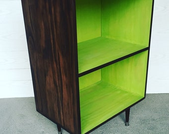 The Double Decker Wee Record Player Stand Mid Century Modern Record Cabinet Vinyl Storage, MCM Apple GREEN and Chocolate Brown