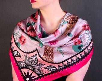Lotus Flower Silk Scarf / Pink Lotus Silk Scarf / Floral Silk Scarf / Silk Scarf