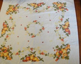Vintage Cotton Table Cloth Fruit Square Orange Yellow 52 X 46