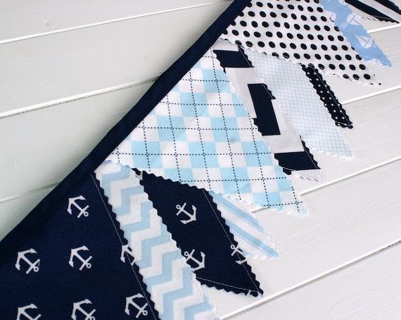 Bunting Banner, Photography Prop, Fabric Flags, Nautical Nursery Decor - Navy Blue, Light Blue, Chevron, Anchors, Sailboats, Nautical