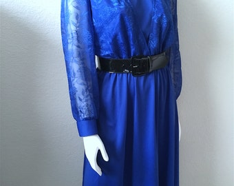 Vintage Women's 80's Blue Dress, Lace, Long Sleeve by Blair (L)