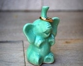 ceramic elephant ring  holder in mint