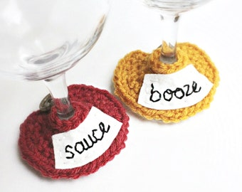 Thanksgiving decor, Wine Glass Cozy, wine charm, glass marker,red orange yellow, funny, hostess gift, sauce, booze, cocktail, snarky