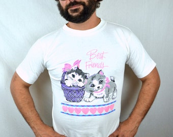 Cute Vintage 80s Kitty Puppy Tshirt Tee Shirt
