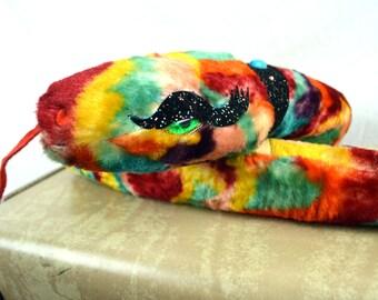 RARE Vintage Bejeweled Stuffed Rainbow Snake - The Rushton Company