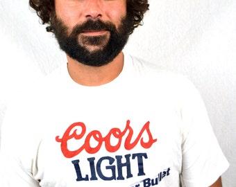 Vintage 80s 90s Coors Light Silver Bullet Beer Tee Shirt - Tshirt