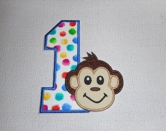 Free Shipping Ready to Ship Number 1 Boy Monkey Machine Embroidery  iron on applique