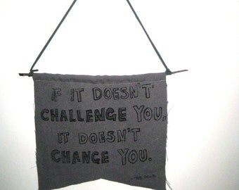 CHALLENGE YOU Quote Wall Hanging, Saying Grey Fabric Wall Hanging Decor Interior Design Work Hard Heart Boss Strength Change Motivation
