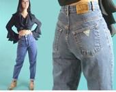 Vintage 80s High Waist Jeans Medium Distressed Faded GUESS JEANS High Waisted Guess Pascal Jeans Taper Tapered Jeans 80s Mom Jeans 28 Waist