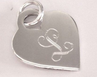 Engravable Sterling Silver Large Heart Charm, Monogrammed Charm, Silver Name Charm, Personalized Initial Charm, Valentine's Day Jewelry