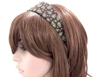 Wide Chocolate Headband - Chocolate Brown and Lime Green Paisley