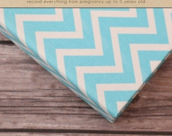 Baby  Book (Pregnancy - 5 Years) - Teal; Cosmo Chevron (136 designed journaling pages & personalization included with album)