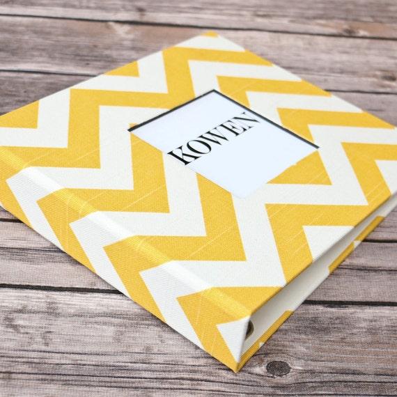 Baby Book, Baby Gift, Baby Album, Baby Memory Book, Baby Keepsake, Modern Baby Book, Yellow Chevron