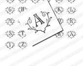 Vintage French Initials, Digital scan for 1 inch Scrabble Tile Pendants, Collage Sheet, Romantic Alphabet (004)