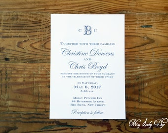 100 Monogram Wedding Invitations - Clean, Simple, Traditional, Classic Invitation - By My Lady Dye