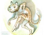 Disguised as an Animal - original watercolor painting, game art