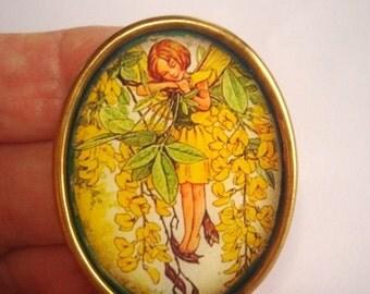 Fairy Child in Yellow Tree Brooch KL Design