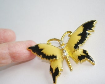 Butterfly Yellow Black Brooch Gold Tone.