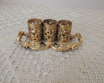 Three Lipstick Hollywood Regency Brass Holder. Midcentury Stylebuilt, N.Y. Goldtone Lipstick Holder. Brass Lipstick Display