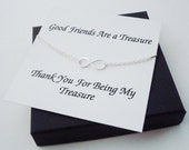 Double Strand Infinity Silver Bracelet ~Personalized Jewelry Gift Card for Sister, Best Friend, Sister in Law, Bridal Party