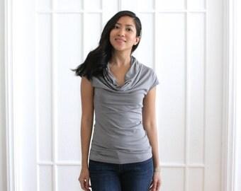 Chic Gray Cowl Neck Tshirt, Light Gray Blouse, Drapey Short Sleeve, Bamboo Cowl Neck, Organic Cotton Women Tshirt, EcoFriendly Tshirt - SARA