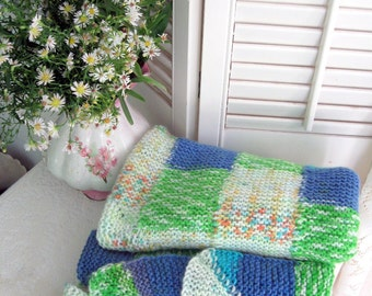 Blanket, Patchwork, Knitted, Green and Blue, Small, Throw, Afghan, Nursery, Stroller Blanket, Lap Blanket, by mailordervintage on etsy