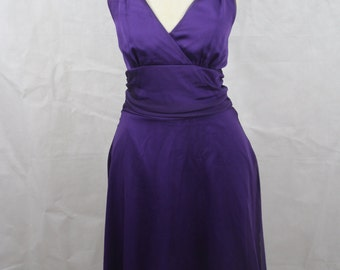 Purple Chiffon Halter Top Dress / Knee Length Marilyn Mid Century Inspired Size S Small Empire Waist Frock