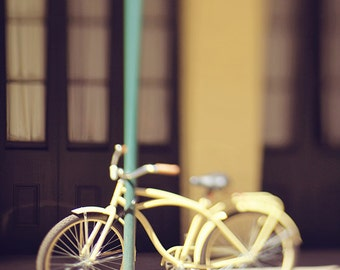 """Bicycle Photography - New Orleans Photograph """"Yellow Bicycle"""" Louisiana Art, French Quarter Picture, Home Decor Wall Art"""