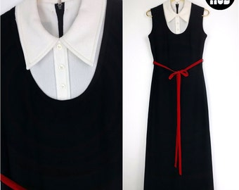 Mod Vintage 60s Black & White Maxi with Pointed Collar and Red Velvet Bow!