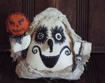 Halloween Ghost Doll Crazy Charlie Halloween Handmade OOAK Folk Art Primitive