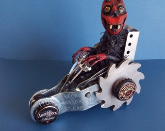 Halloween Devil Doll and Mixed Media Car Zoom Zoom Handmade One of a kind OOAK Folk Art Doll Halloween Decor