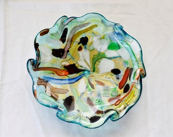 Vintage Art Glass Bowl, Confetti Glass, Italian Mid-Century, Handmade Glass Bowl, 1950's Blue Green Glass Murano Handblown Glass Bowl