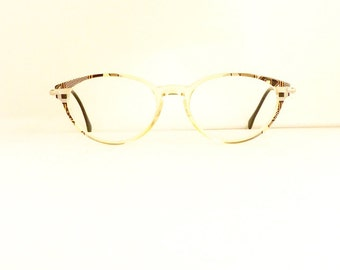 Silhouette Eyeglasses Frames // Women's 1990's // Translucent Clear with Pattern Frames //Made in Austria// Model M1409//#M174 DIVINE