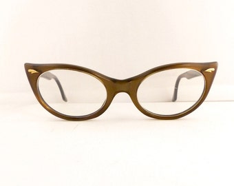 Vintage 1950s Can Op Cats Cateye Eyeglasses Frames Women's Pearlised Bronze Comes with Vintage Case  #M297 DIVINE