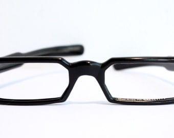 Very Rare 1940s Eyeglasses // 40s 50s Vintage Frames // Black // Japan