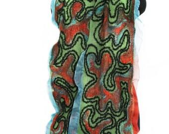 Nuno Felted Scarf Wool Silk Felt Scarf Multicolor OOAK Felt Gift Winter Fashion Accessory