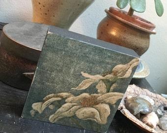 Original Mounted OOAK Woodblock Print Flower - Hand Pulled Fine Art Print - Ready To Hang Wall Art White Petals Flower Print