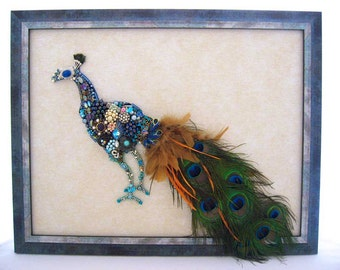 Peacock - Vintage Jewelry Peacock - Framed Vintage Jewelry Art - Jewel Peacock - Vintage Jewelry Art - Home Decor - Aristocrat