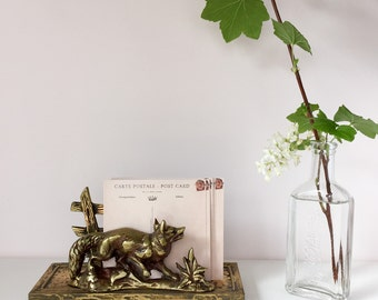 Vintage Brass Fox & Fence Letter Holder - Vintage Desk Accessory / Organizer - Brass Animal Rack