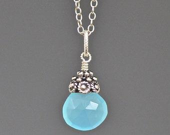 Chalcedony Necklace - Aqua Chalcedony - Bali Silver Pendant - Silver Wire Wrapped Pendant - Aqua Gemstone - Single Stone Necklace - Gift