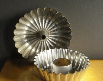 Brioche or Fluted Cake Pans - Pair of Vintage Baking Tins - Kitchen Decor - Vintage Organizer - Bundt or Angelfood Cake Pans